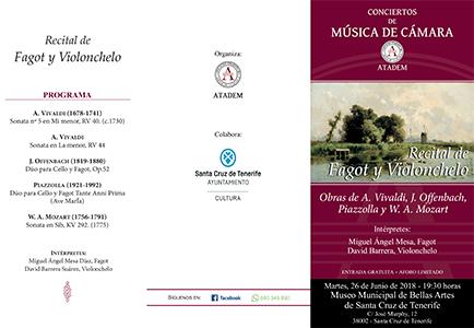 26 de Junio 2018, PROGRAMA VRecital de Fagot y Violonchelo