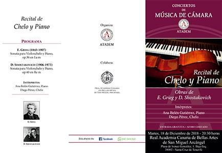 PROGRAMA -  - 18 de diciembre 2018, Recital de Chelo y Piano